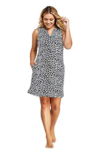 Lands' End Women's Plus Size Cotton Jersey Sleeveless Swim Cover-up Dress Print (Swim Cover Up Plus Size)