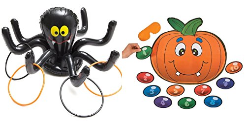 Halloween inflatable Spider ring toss game + free pin pumpkin (Kids Halloween Spider Crafts)