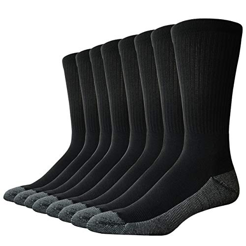 The Sock Crew Mens 8 Pair Pack Crew Socks Work Socks with cushion sole, arch support and mesh ventilation