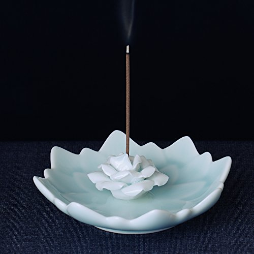 Incense Stick Burner Holder - Porcelain Decorative Flower Incense Burner Bowl - Ceramic Incense Cone Ash Catcher Tray