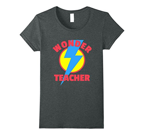 Womens Wonder Teacher - Teacher Halloween Tshirt Medium Dark (Super Teacher Halloween Costume)