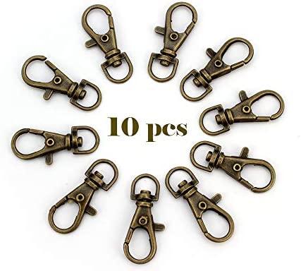 RUBY-10 Mosquetón para bolso Mosquetón de llavero ganchos de bolso Anillas Giratorias 38mm (Bronce, 10 unids)
