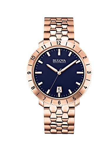 Bulova Accutron II - 97B130 Rose Gold Blue Dial Watch - Accutron Mens Watch