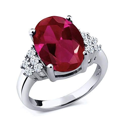 - Gem Stone King 5.40 Ct Oval Red Created Ruby and White Topaz 925 Sterling Silver Women's Ring (Size 7)