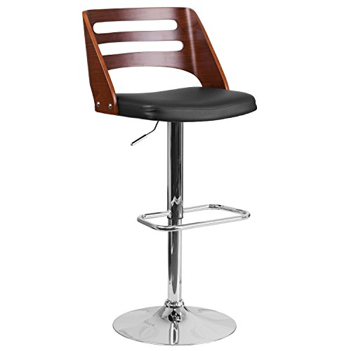 Flash Furniture Walnut Bentwood Adjustable Height Barstool with Cutout Back and Black Vinyl Seat Review