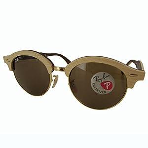 Ray-Ban Wood Unisex Polarized Round Sunglasses, Gold, 51.1 mm