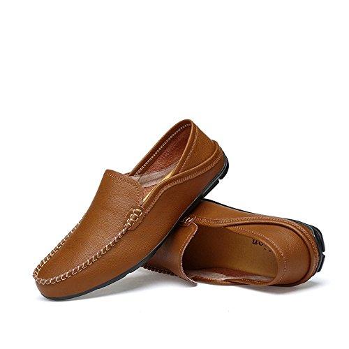 in Dimensione da shoes traspirante Mocassini Mocassini leggeri e 43 da Color 2018 Scarpe vera barca Uomo mocassini per pelle Shufang uomo foderati rinfrescanti Marrone EU Da casual SPqZdSw