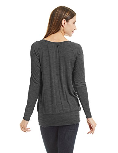 WT1473 Womens Scoop Neck Long Sleeve Front Pleated Top XL HEATHER_CHARCOAL by Lock and Love (Image #3)
