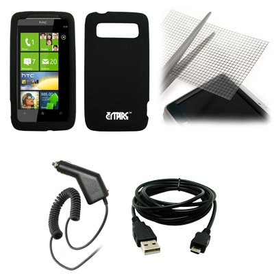 EMPIRE Black Silicone Skin Cover Case + Universal Screen Protector + Car Charger (CLA) + USB Data Cable for Verizon HTC Trophy