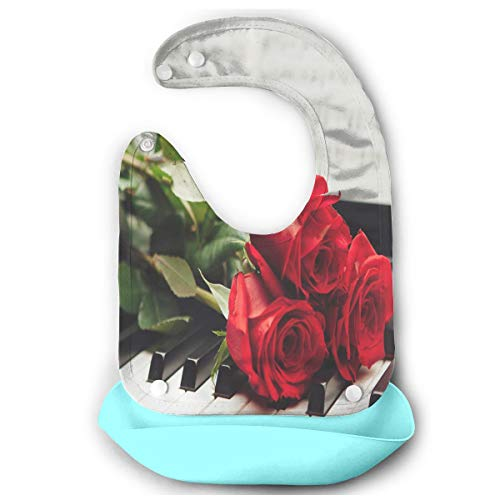 Violin And Rose On Music Sheet Wallpaper Baby Bibs Silicone Teething Unisex Waterproof Starter Bib/Smock With Food Catcher Pocket ()