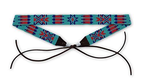 """Mayan Arts Hat Band, Hatbands, Cowboy, Western, Leather, Beaded, Turquoise, red, and Blue, Leather Ties, 7/8"""" X 21"""""""