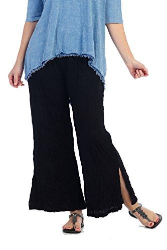 Pant Career Linen (Jess & Jane Women's Crushed Melange Bamboo Ankle Slit Pant (1X, Black))