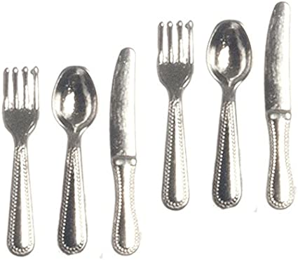 DOLLHOUSE 1:12 Scale Miniature Silver Metal KITCHEN Utensils SET of 6