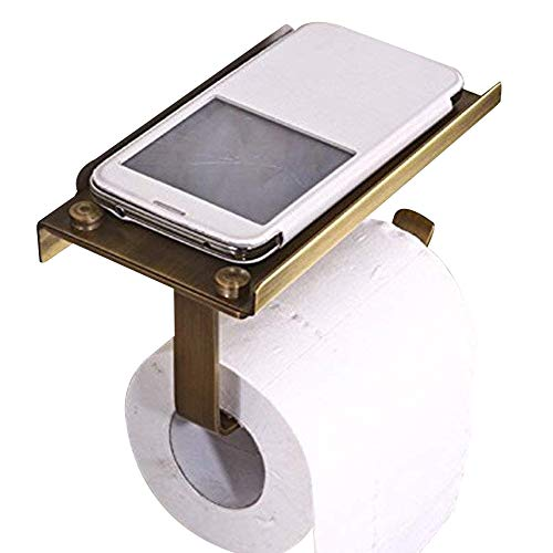 Series Toilet Paper Holder Antique - Leyden TM Creative Multifunction Antique Brass Toilet Paper Holder with Phone Self Cover Wall Mounted
