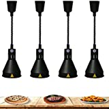 Buffet Food Warmer Lamp, Commercial Warming Lamp Hotel Buffet Keep Food Warm and Provide Lighting, Strong and Sturdy 4pcs, 250Wblack