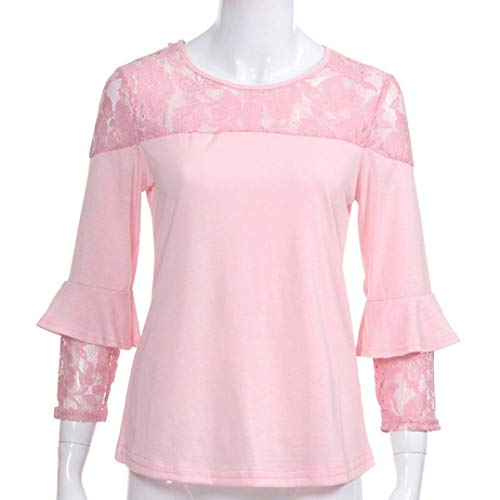 URIBAKE Women's Fashion Lace Hollow Out Patchwork Blouse Shirts Pullover Tunic Ladies' Top Tee Shirts Pink