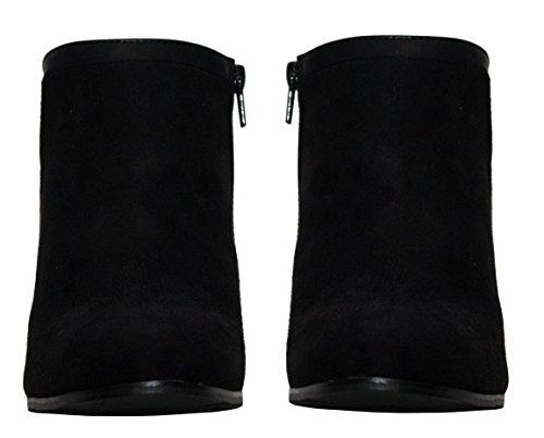 3 Nuevas Reino Negro Plus Zapatos Suede 8 Mona Annabelle Faux Unido Botines damas para Zip mujer Formal Oficina up Tamaños OrOaq