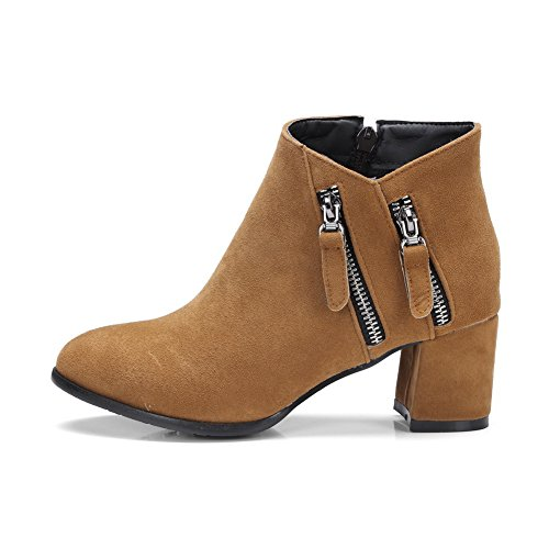 1TO9 Fashion Ground Closed Manmade Brown Toe Bootie Boots Womens Zip MNS02468 Firm Urethane Nubuck Boots UWxwAUBnr
