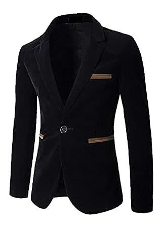 Macondoo Mens One Button Corduroy Spliced Winter Jacket