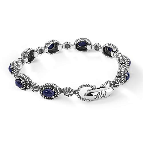 Sterling Lapis Bracelet - American West Sterling Silver Blue Lapis Gemstone Rope Concho Link Bracelet Size Medium