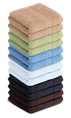 Cotton Face Washcloths Set 100% Cotton Ultra Soft Wash Cloth Towel Set for Bathroom & Home Highly Durable High…