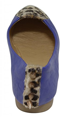 Flat with Womens 1 Anna pointed on textured Kumo and flats the heel casual spike Blue animal toe leopard q0UStn