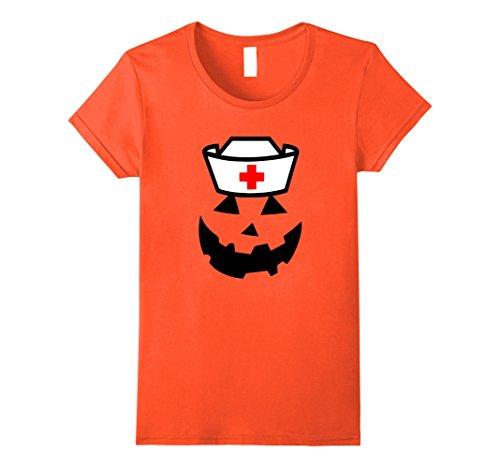 [Womens Nurse Pumpkin funny women's Halloween Saying shirt Medium Orange] (Psych Nurse Costume)
