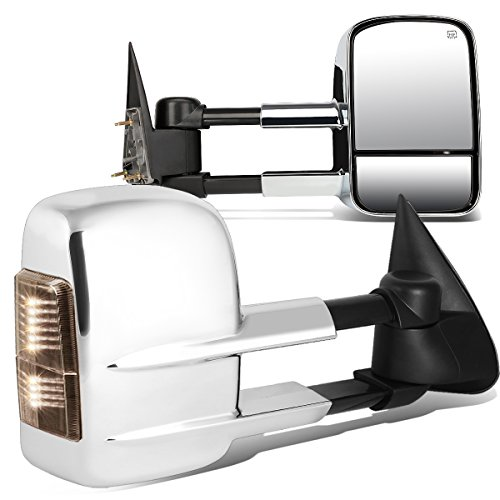 For Chevy Silverado/GMC Sierra GMT800 Pair Powered + Heated Glass + Signal + Manual Folding Chrome Side Towing Mirrors