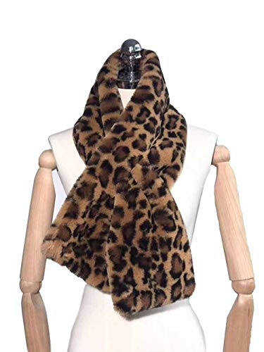 Jovono Women's Winter Fake Faux Fur Scarf Collar Leopard Plush Shawl Neck Warmer (Khaki) (Brown)