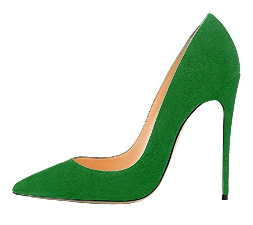 NIUERTE Women's High Heel Pointed Toe Classic Sexy Pumps Green Suede 6 B(M) US - Open Multi Plier Trim