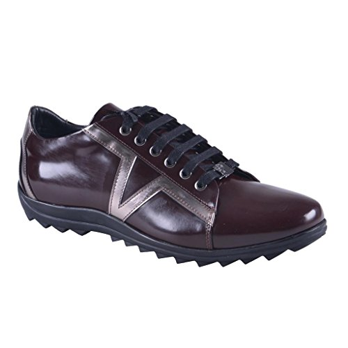 Versace-Collection-Mens-Burgundy-Leather-Fashion-Sneakers-Shoes