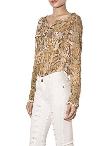 iB-iP Mujer Impresión Serpentina Bolsillo Doble Button Down cintura Camisa Marrón
