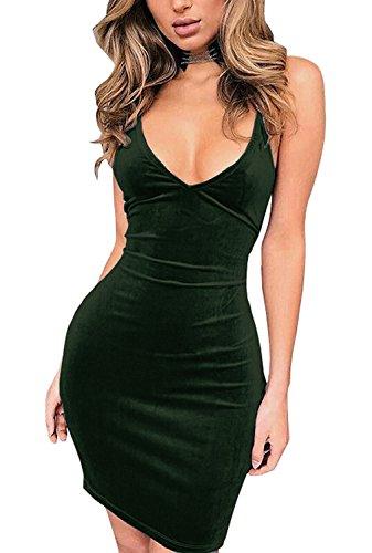 Sexy Dress (Doramode Womens Spaghetti Strap Bodycon Sleeveless Backless Velvet Sexy Short Club Dress)