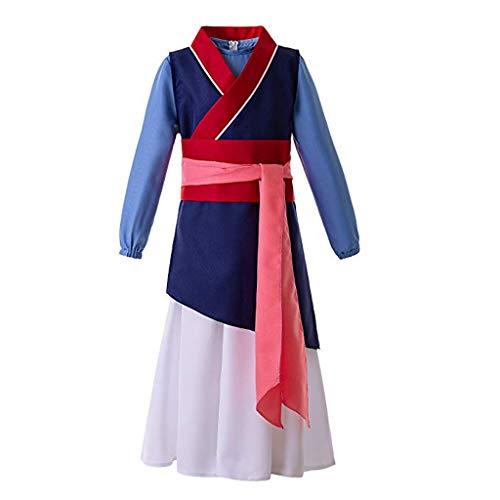 MEANIT Kids Teen Heroine Hua Mulan Dress Halloween Costume Cosplay Party Blue]()