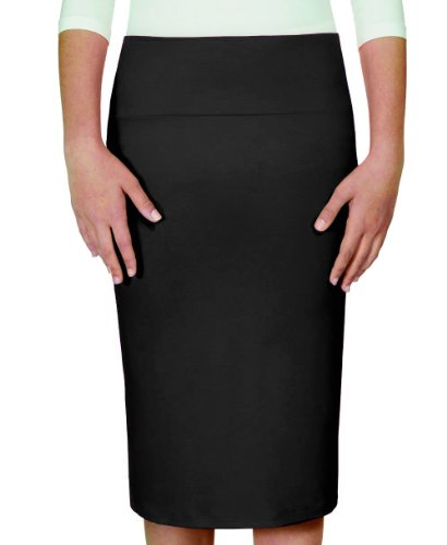 Kosher Casual Women's Knee Length Fitted Lightweight Pencil Skirt Large Black by Kosher Casual