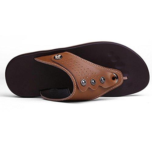 SHANGXIAN Los pies de playa de verano de los hombres Flip Flops sandalias de cuero ocasionales Brown