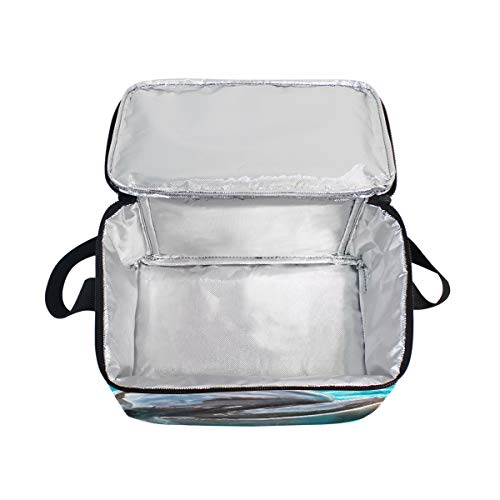 Lunchbox Lunch Water Dolphin Bag Strap Picnic for Sea Shoulder Blue Cooler wZZvIprx