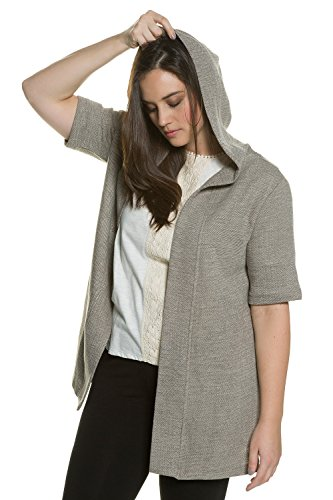 Ulla Popken Women's Plus Size Eco Cotton Hooded Sweater Jacket Multi 20/22 (Organic Cotton Hooded Jacket)