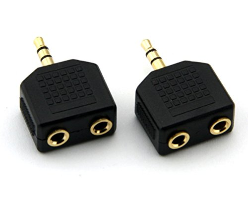 - ANRANK AK35235SS 3.5mm Stereo Plug to 2 x 3.5mm Stereo Jack Splitter Adaptor Audio Adapter Connector (Gold Plated, 2 Pack)