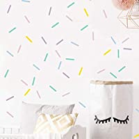 Pastel Sprinkles Confetti Wall Decals, Mini Bar Stickers for Kids Room Decoration - 100 elements