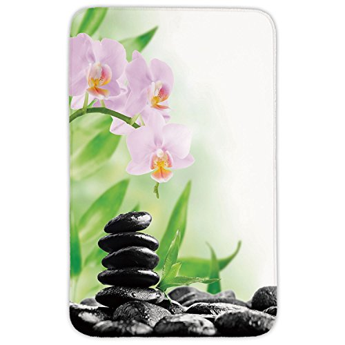 - Rectangular Area Rug Mat Rug,Spa,Zen Basalt Stones and Orchid with Dew Peaceful Nature Theraphy Massage Meditation Decorative,Black Pink Green,Home Decor Mat with Non Slip Backing