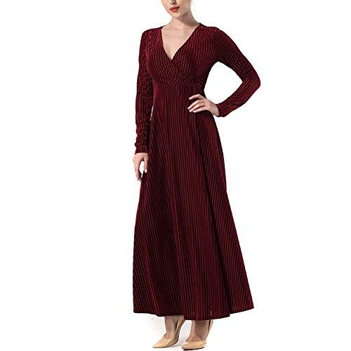 Vestito Velluto Rosso Di Delle Donne Sexy Maxi Dall'annata V collo Casuale Changxin fHwxw6A