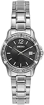 Seiko Crystal Ladies Black Dial Stainless Steel Quartz Watch