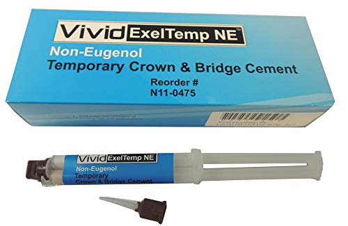Vivid Exeltemp Ne - Non-Eugenol Temporary Crown & Bridge Cement, Automix Syringe Standard Package (Permanent Crown Cement)