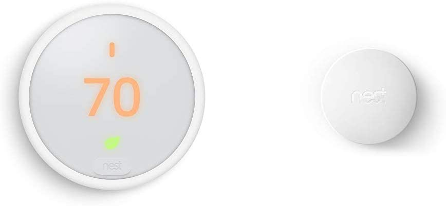 Google Nest Thermostat E, Smart Thermostat, White, and Google Nest Temperature Sensor Bundle