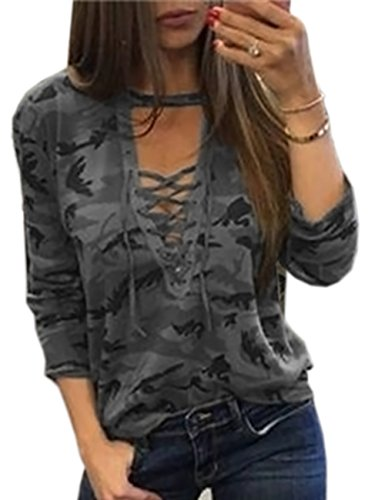 Sexyshine Women's Camouflage Print Tops Bandage Deep V Low-Cut Lace-up Blouses Loose Long Sleeve T-Shirt(GY,M) -