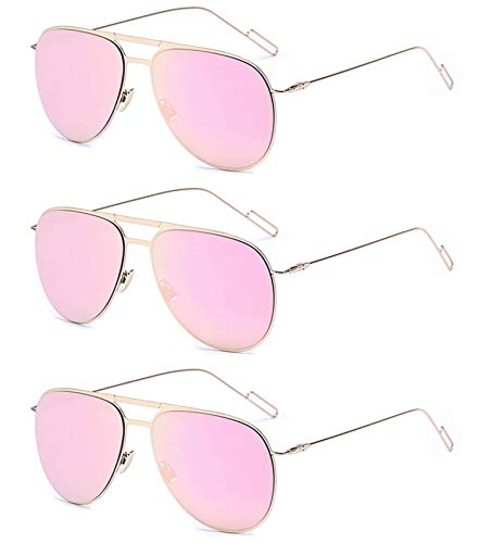 3 Pairs Classic Aviator Style Sunglasses Metal Frame Colored Lens (3 Gold Rose Mirror, Colored)