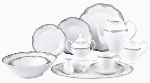 Lorenzo Import Elizabeth 57-Piece Wavy Porcelain Dinnerware Set (Dinner Set Porcelain)