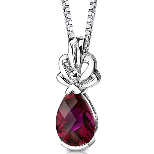 Created Ruby Pendant Necklace Sterling Silver Rhodium Nickel Finish 2.25 Carats Pear -