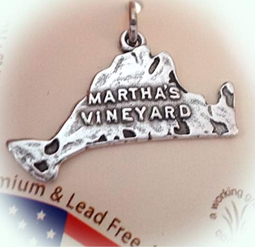 (Sterling Silver 13x24mm map of and says Martha's Vineyard in Massachusetts Charm Vintage Crafting Pendant Jewelry Making Supplies - DIY for Necklace Bracelet Accessories by)
